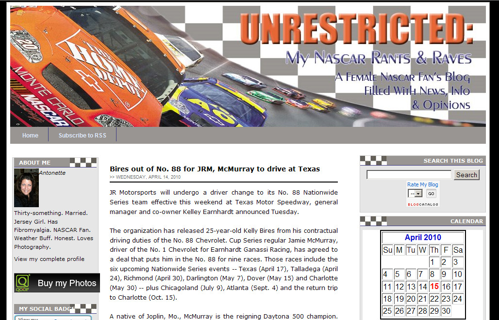 Blog Makeover 40 – Unrestricted: My Nascar Rant and Raves