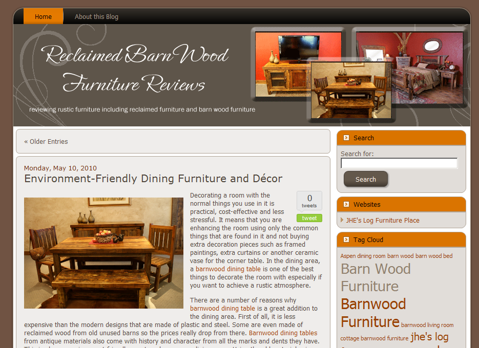 Blog Makeover #64 : Reclaimed Barn Wood Furniture Reviews