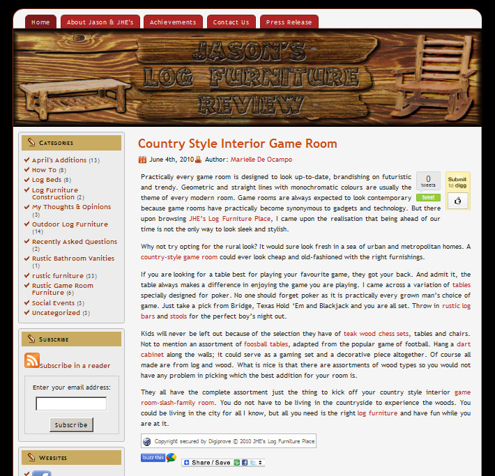 Blog Makeover #65 : Jason's Log Furniture Review
