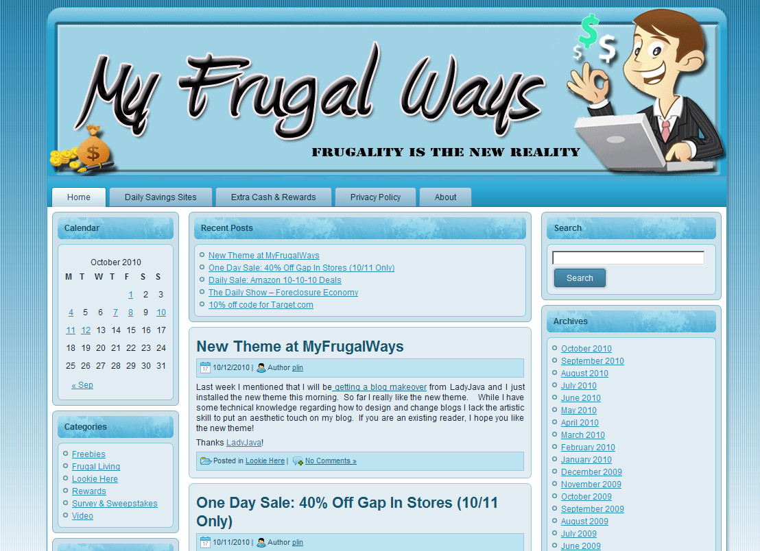 Blog Makeover #69: My Frugal Ways