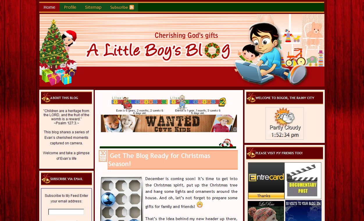 Custom Header: A Little Boy's Blog – Xmas Look