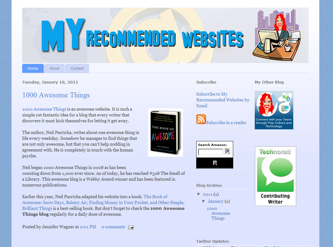 Custom Header : My Recommended Websites